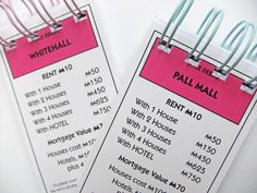 Set of Two Monopoly notebooks - Mini Notebooks - recycled notebooks £4.00