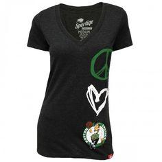 Sportiqe Celtics Womens Abyss Love V-Neck T-Shirt [Black] $27.95