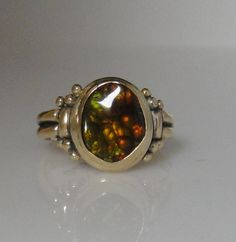 14ky Gold Fire Agate Ring- One of a Kind
