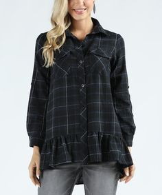 Look what I found on #zulily! Black & Navy Plaid Ruffle-Hem Flannel Button-Up Tunic - Plus Too #zulilyfinds