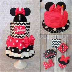 Minnie Mouse Collection - Minnie mouse birthday cake, smash cake, and cookies. Design was based on the little birthday baby's ruffled dress for the party. www.facebook.com/smashcakery