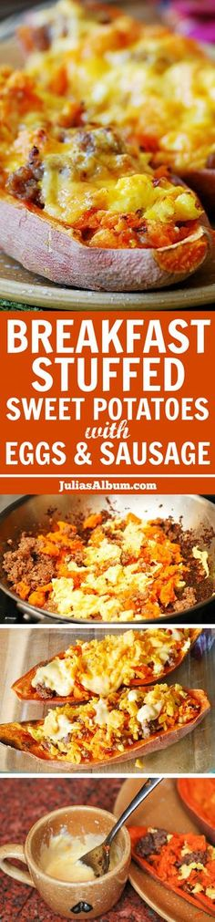 Stuffed sweet potatoes for breakfast - with sausage and eggs.