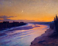 William Robinson Leigh (1866 – 1955) - Afterglow Over The Zuni River