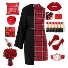 """I Love You"" by candyfrost ❤ liked on Polyvore featuring Topshop, Valentino, Lime Crime, L'Oréal Paris, Bitossi, Tory Burch, bürgi, LE VIAN, women's clothing and women"