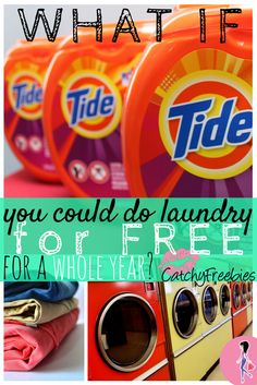 We're giving away Tide Pods for a year's worth of laundry! The lucky winner will receive these three huge containers of Tide Pods for free!! What would you do with all those savings if you could do laundry free for a year? Giveaway ends November 1, 2015! Click to sign up! #TideForAYear