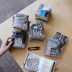 I finished some sewing booklets and I love how each is one of a kind. I really enjoy patching my remnants and I hope to list them next week… Fabric Art, Fabric Crafts, Fabric Books, Handmade Books, Handmade Art, Textiles, Fabric Journals, Stitch Book, Ideias Diy
