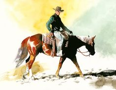 """""""Chad"""" by Don Weller  Western Watercolor artist Horse and cowboy Original watercolor artwork"""