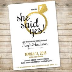 Bridal Shower Invitation: She Said Yes // 5x7 by TheMombot on Etsy