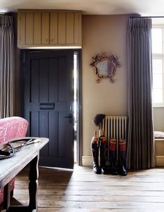 The delightful Cotswolds home of Vogue contributing editor Robin Muir and Paul Lyon Maris Grey Striped Curtains, Paint And Paper Library, Inviting Home, London House, Reclaimed Timber, Interior Design Studio, White Walls, Indoor, Lyon