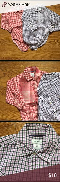 Gingham plaid button down onesies. 18 month red and white gingham snap crotch button down.  24 month light pink, white and navy snap crotch button down. Carter's Shirts & Tops Button Down Shirts