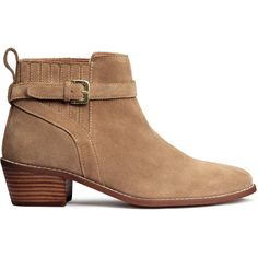 H&M Suede ankle boots ($77) ❤ liked on Polyvore featuring shoes, boots, ankle booties, beige, suede boots, mid heel booties, beige suede boots, suede ankle bootie and strappy booties