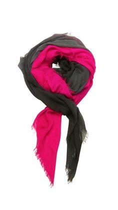 Blue Pacific Dream Cashmere & Silk Scarf in Fuchsia Pink & Slate Gray