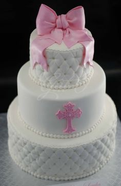 Classic White Baptism... By gat-o on CakeCentral.com