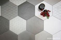 Tile- Sangah's -LE TERRE #tile #tiles #sangahtile #ceramic #interior #bathroom #interiordesign #home #homeinterior #white #hexagon #wall #floor #space #modern #타일 #인테리어 #디자인 #홈 #홈인테리어 #욕실
