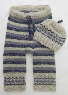 Stripey trousers & hat with fair isle pattern 3 to 6 months - ready to ship.