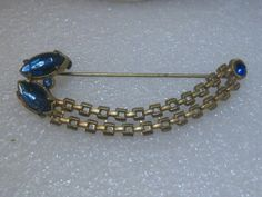 "Vintage Blue Rhinestone & Chain Link Skirt or Long Brooch,  C-Clasp  3.25"" #Unbranded"