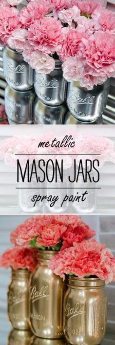 Cute DIY Mason Jar Ideas -Metallic Mason Jars - Fun Crafts, Creative Room Decor, Homemade Gifts, Creative Home Decor Projects and DIY Mason Jar Lights - Cool Crafts for Teens and Tween Girls http://diyprojectsforteens.com/cute-diy-mason-jar-crafts