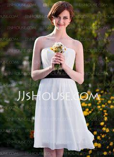 Bridesmaid Dresses - $79.99 - Empire Strapless Knee-Length Chiffon Bridesmaid Dress With Sash (002025639) http://jjshouse.com/Empire-Strapless-Knee-Length-Chiffon-Bridesmaid-Dress-With-Sash-002025639-g25639