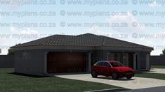 This Tuscan designed Single Storey 3 Bedroom House Plan Boasting Full Master Suite Including Walk-In Closet, 2 Standard Bedrooms, Bathroom, Open Plan living area Including Kitchen with Scullery, Double Garage and Covered Patio My House Plans, Garage House Plans, My Building, Building Plans, Bedroom House Plans, South Africa, Floor Plans, How To Plan, Outdoor Decor