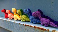 Tiny Dinosaurs - Rainbow.   Project information and pattern link here;  https://www.ravelry.com/projects/LindaDavie/tiny-dinosaur-amigurumi