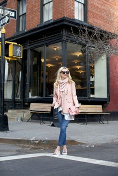 Blazer . Denim ( also in white and black ). Top . Scarf: Gucci ( sold out similar here and also love this one ). Sneakers: ...