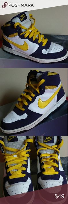 Nike Hightop Size 8 MEN and Size 10 WOMEN Shoes is in great shape...showing minimal signs of use and rated 8/10...signs of used mainly shown on inner of shoes...Colors are yellow, purple and off-white in a beautiful combo. Nike Shoes Sneakers