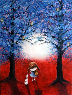 """Iwona Lifsches, """"Ulla and Bingo in The Blue Forest"""".  I love their noses, and the way Bingo's ears always seem to be hanging or flying back.  (Plus--all the owls in the trees.)"""