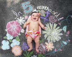 Helena's 5 month old sidewalk chalk baby photo. This could be my favorite yet. - eine klasse Erinnerung