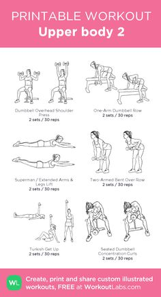 Upper body 2 my visual workout created at Workout Beginner Upper Body Workout, Upper Body Weight Workout, Upper Body Workout For Women, Gym Workout Plan For Women, Gym Workouts Women, At Home Workouts, Body Workouts, Beginner Pilates, Workout Plans