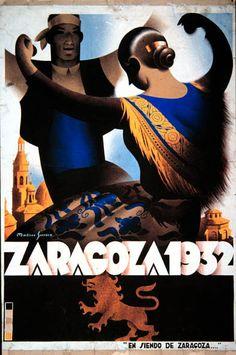 Cartel Pilar 1932 Titulo: En siendo de Zaragoza