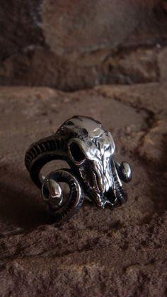 Stainless Steel Skull Ring Ram Skull Bull Skull by ShopSparrow, $32.99