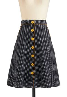 Dots the Way I Like It Skirt - Cotton, Mid-length, Yellow, Polka Dots, Pockets, A-line, Black, White, Buttons, Casual, Vintage Inspired, 60s