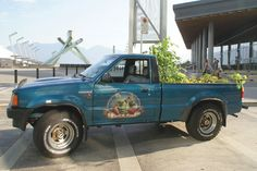 Yes, that is food growing in the back of a pick-up. It's Truck Farm :)
