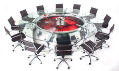 I love MotoArt's furniture. It's all made from recycled airplane parts. This conference table was part of a Boeing 747's engine in its previous life.