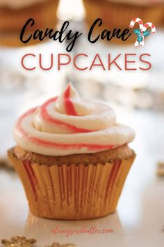 Candy Cane Cupcakes are the ultimate Christmas cupcakes! Featuring a moist vanilla cupcake with a whipped cream frosting with real candy canes, they're great for your holiday parties, even if it's just your family! Cream Filled Cupcakes, Love Cupcakes, Yummy Cupcakes, Moist Vanilla Cupcakes, Easy Cupcake Recipes, Whipped Cream Frosting, Tasty, Yummy Food, Christmas Cupcakes