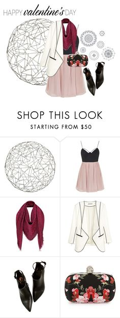 """""""Valentine's Day #4"""" by annasinger ❤ liked on Polyvore featuring Arteriors, Topshop, Alexander McQueen, WallPops, women's clothing, women, female, woman, misses and juniors"""