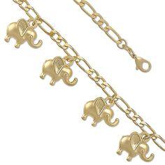 "9"" Elephant Loop 14K Yellow Gold Plated Charm Link Bracelet"