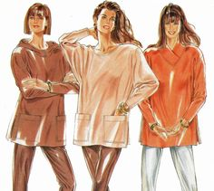 1980s Pullover Hooded Top Shawl Collar Tunic Top Pattern Knit Pants Sewing Pattern Simplicity New Look 6607 Bust 32 34 36 38 40 42 UNCUT by TheOldLeaf on Etsy