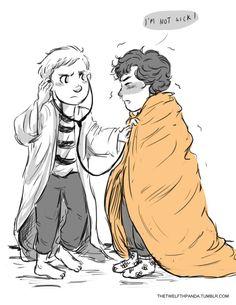 Kid!lock fan art - Kid Sherlock Has a Cold by thetwelfthpanda. Look, he's even got a shock blanket!