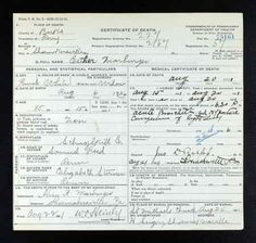 Esther Marburger discovered in Pennsylvania, Death Certificates, 1906-1964