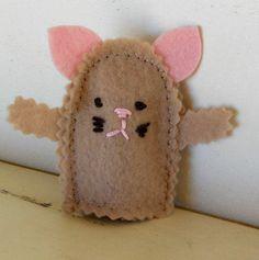 Wool Felt Kitten Finger Puppet