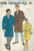 "An original ca. 1966 Simplicity Pattern 6756.  Men's Robe. Robe is a robe without front closing and has long one-piece raglan sleeves with sleeve bands, shawl collar, large patch pockets, self tie belt and optional ¼"" top-stitching. Contains 8 pieces. For Boys' Pattern see Simplicity 6767."