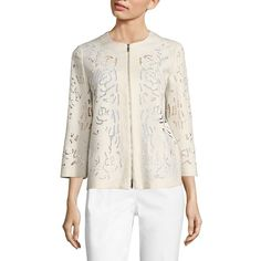 Lafayette 148 New York Hadara Embroidered Linen Jacket ($524) ❤ liked on Polyvore featuring outerwear, jackets, eyelet jacket, lafayette 148 new york, white linen jacket, white jacket and embroidered jacket