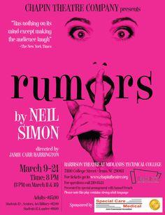 Rumors by Neil Simon - Hot Pink