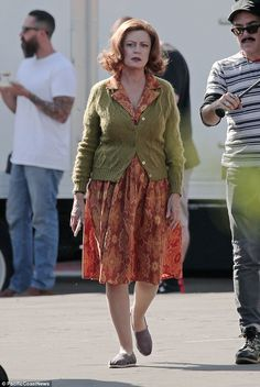 In character: Susan Sarandon was seen dressed up as Bette David on the set of FX's Feud in LA