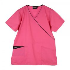 Dickies Mock Wrap Top in Shocking Pink. This generous fit Dickies Mock Wrap Scrub Top is super comfy and stylish. There is an adjustable tie at the back for extra comfort and two practical pockets for all your belongings. On the right pocket there is the Dickies logo and a beautiful contrast on the inner pocket. There is also a lovely crossover contrast trim at the neckline except on the white Dickies Mock Wrap Tunic. £17  #nursescrubs #dentistuniform #nurses #dentists #pinkscrubs