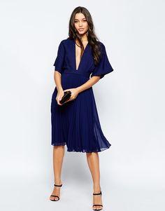 Image 4 ofASOS Kimono Sleeve Pleated Midi Dress