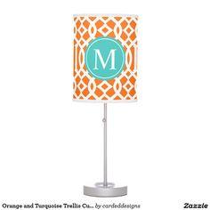 Orange and Turquoise Trellis Custom Monogram Table Lamps