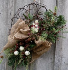 Christmas Wreath, Holiday Décor, Woodland Christmas, Primitive, Snowman, Jingle Bells, Winter Swag via Etsy.