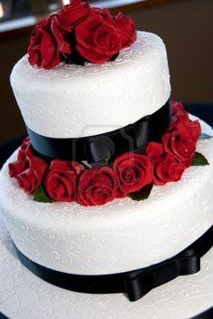 Rose decorated wedding cake Stock Photo